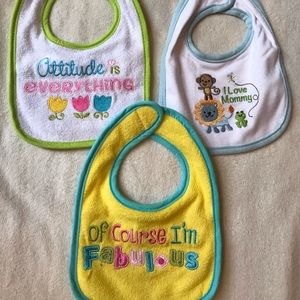 Set of Three Infant Bibs